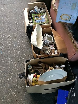 Job Lot Of Porcelain Ornaments And Trinkets Modern And Vintage 3 Boxes Car Boot