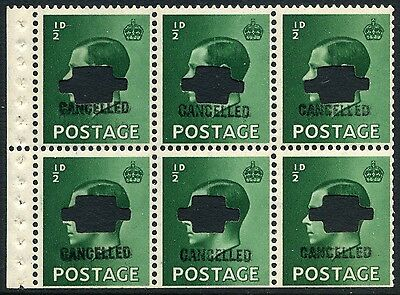 """1936 KEVIII ½d Booklet Pane """"CANCELLED"""" type 33P SG Spec PB1s"""