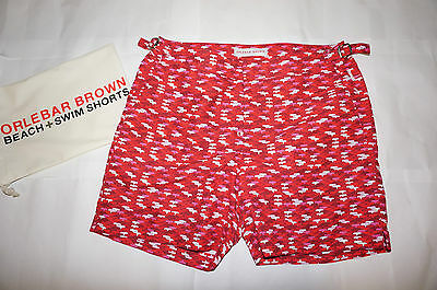 Orlebar Brown Mens Setter Red Print Swimming Shorts Size 32