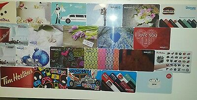 Gift Card Collection Huge Mixed lot of Unused (NO CASH VALUE) gift cards
