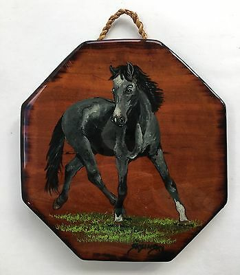 Hand Painted Horse On Wood Handpainted Wall Hanging Equestrian Decor Signed