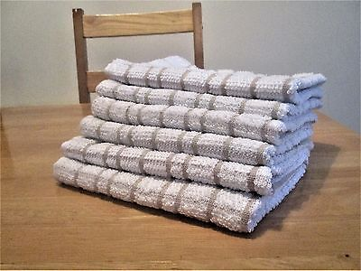 3 Pack Beige Kitchen Tea Towel Dish Drying Cloth 100% Terry Cotton