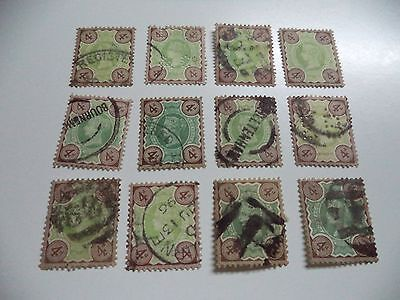 12 Victorian Used Stamps Sg 205 In Nice Condition  Cat 180 Pounds