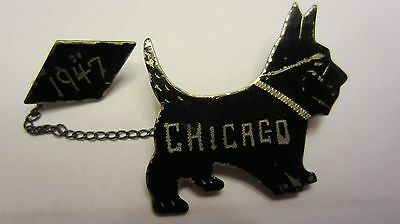 Chicago Scottie Dog Pin Brooch Dated 1947 Scotty with Chain