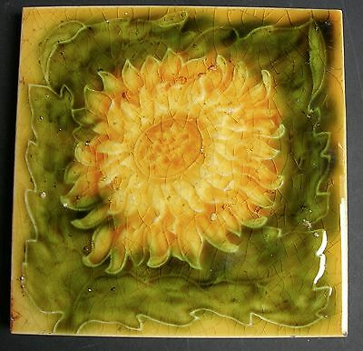 "Beautiful Antique Majolica 6"" Tile ""SUNFLOWER"" c1905"