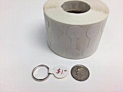 Barbell-Style Self-Adhesive ring tags, white, rolls of 1000