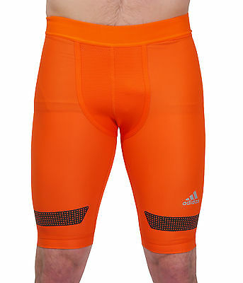 adidas Techfit Chill 9 Inch Comp Mens Short Running Tights - Orange