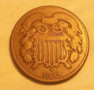 ***1864  Two Cent Piece   Scarce Old Coin