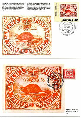Canada 1979 + 1982 Ppc -The Beaver. Capex - Stamp On Stamp 2- Maxi Card