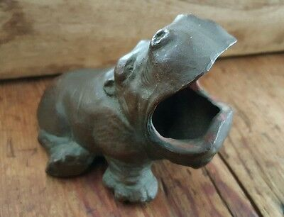 Rare Brass hippopotamus coin bank ashtray vtg Marked USA