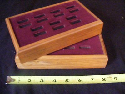 Pair- 2 Jewelry Store Ring Displays Velvet & Wood - Flea Market Pawn Shop