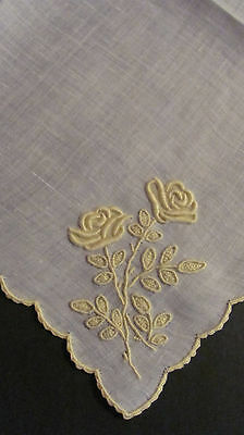 Vintage Marghab Madeira Embroidered Yellow ROSES Linen Hankie Hanky
