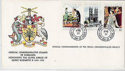 Barbados 417-19 FDC QUEEN ELIZABETH 1977 SILVER JUBILEE WESTMINSTER ABBEY COVER