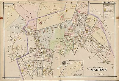 1910 A.h. Mueller, Madison, New Jersey, Drew Theological Seminary Copy Atlas Map
