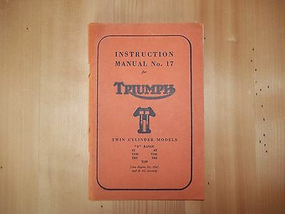 Triumph Instruction manuel N°17 - Edition 1962