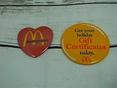 2 Vintage McDonalds Heart Holiday Gift Certificates Pinback Button Pins