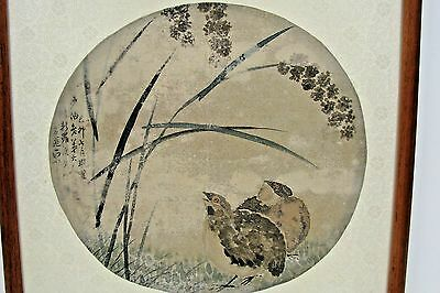 Antique Chinese Painting On Silk Signed, Two Quail