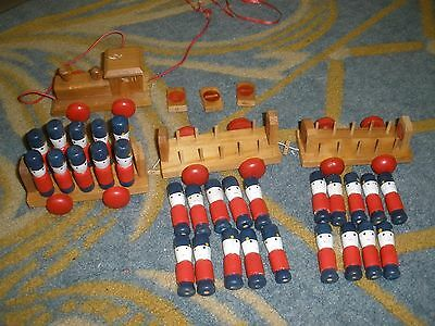 Vintage Wooden Toy Train And Wooden Soldiers