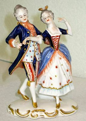 Volkstedt Dancing Courting Pair Porcelain Hand Painted Figurine