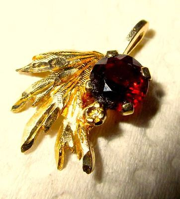 14K Gold Exquisite Large Garnet and Diamond Vintage Pendant