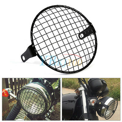 "6.3""/16cm Grill Retro Motorbike Side Mount Headlight Lamp Mask Cover Black DH"