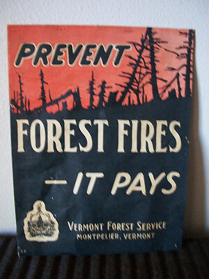 RARE 1920s-30s VERMONT FOREST SERVICE Forest Fire Prevention Poster