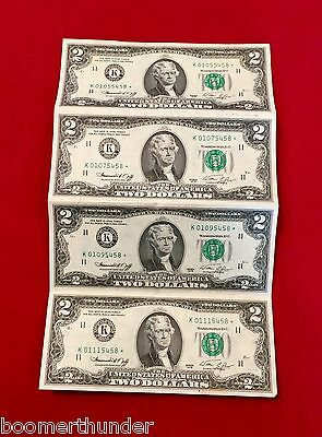 1976 Sheet of 4 Uncut / Uncirculated $2 Dollar STAR Bills Federal Reserve Note