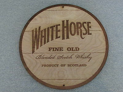 """White Horse Scotch Whiskey 12"""" Round Wood Barrel Cask Top Style Sign"""