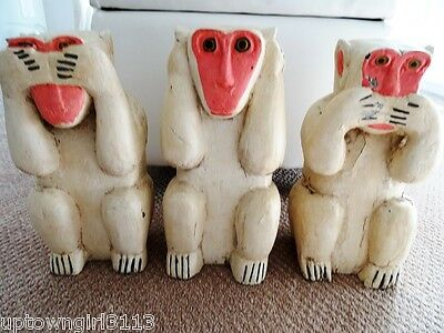 "3 WISE MONKEYS hear speak see NO EVIL 12""H FOLK ART wood VINTAGE shabby CHIPPY"