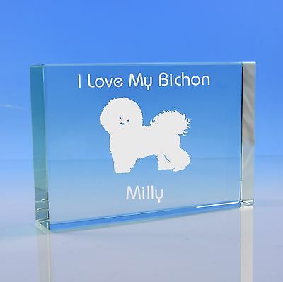 Bichon Frise Dog Gift Personalised Engraved Glass Paperweight - Birthday