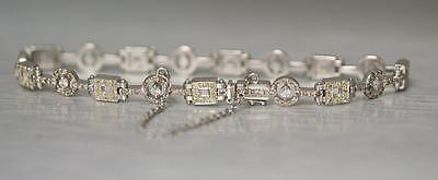 Solid 14K Gold Yellow Sapphires White and Champagne Diamonds Bracelet Certified