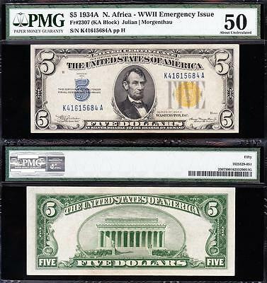Awesome HIGH GRADE 1934 A $5 NORTH AFRICA Silver Cert.! PMG 50! K41615684A