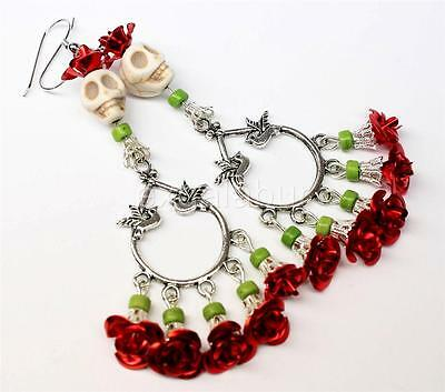 Day of the Dead Earrings Frida Kahlo Red Rose Bird Dove Sugar Skull Jewelry USA