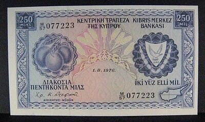1976 Cyprus, Central Bank of, 250 Mil, Crisp High Grade ** FREE U.S. SHIPPING **