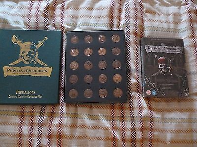 Limited Edition Copper Medallionzs Pirates Of The Caribbean And Sealed 4 Dvds