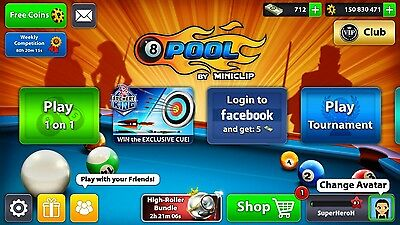 rare 8ball pool account with Best ques, 150m+ coins and 712 cash