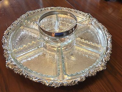 Sheridan Silver Lazy Susan with Glass inserts, Silver on Copper, Dessert Stand