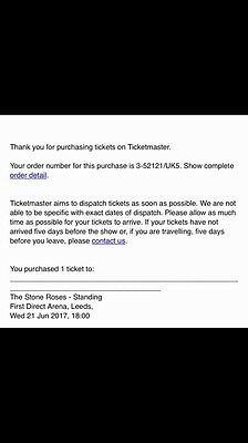 Stone roses standing Ticket X1 Wed 21st June 2017 Leeds First Direct Arena