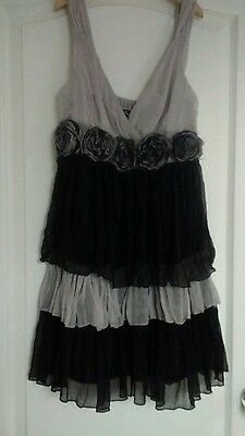 rachael and chloe black and silver cocktail dress size s