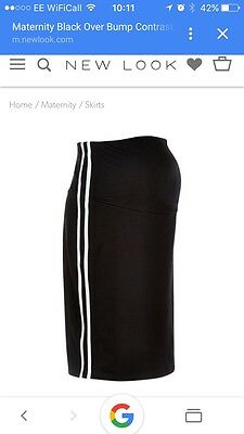 New Look Maternity Stretch Skirt Size 12 Black With Stripe! Sports Lux