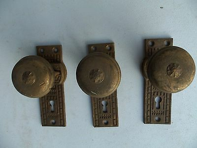 RARE Vintage Brass Door Cabinet Cupboard Knob w/ Attached ornate plate lot of 3