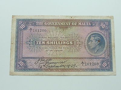 1939 MALTA KING GEORGE 6th 10/- BANK NOTE 10 SHILLINGS
