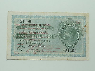 1940 MALTA KING GEORGE 6th 1 SHILLING ON 2 SHILLING BANKNOTE PICK 15