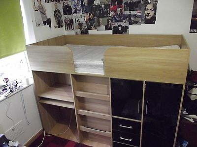 Kids High Bed with Desk, Wardrobe & Drawers Underneath. MIRRORED FINISH.
