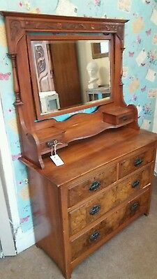 vintage mahogany and burr whalnut dressing table