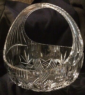 Crystal cut glass fruit bowl 10 inches high