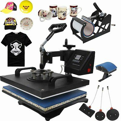 "5 in 1 Heat Press Transfer Sublimation Machine T-Shirt Hat Plate Mug Cap 15""x12"""