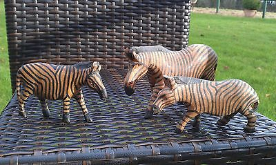 Three Hand Carved Wooden Zebra Varying Sizes Used Make Really Attractive Group