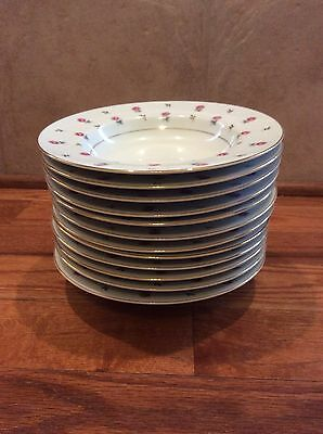 "Noritake Rosalie 3052 Rim Soup Bowls 8"" Set Of 12"