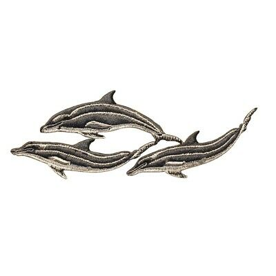 ID 0291 Pod of Dolphin Patch Porpoise Mammal Embroidered Iron On Badge Applique